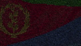 La bandiera d'ondeggiamento dell'Eritrea ha fatto dei simboli del testo su uno schermo di computer Animazione loopable concettual stock footage