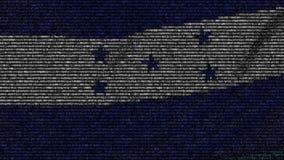 La bandiera d'ondeggiamento dell'Honduras ha fatto dei simboli del testo su uno schermo di computer Animazione loopable concettua video d archivio