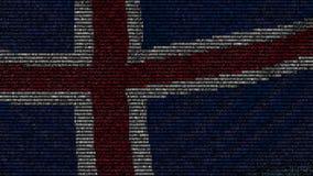 La bandiera d'ondeggiamento dell'Islanda ha fatto dei simboli del testo su uno schermo di computer Animazione loopable concettual stock footage