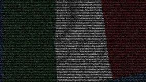 La bandiera d'ondeggiamento dell'Italia ha fatto dei simboli del testo su uno schermo di computer Animazione loopable concettuale video d archivio