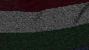 La bandiera d'ondeggiamento dell'Ungheria ha fatto dei simboli del testo su uno schermo di computer Animazione loopable concettua archivi video
