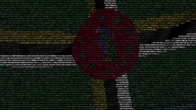La bandiera d'ondeggiamento della Dominica ha fatto dei simboli del testo su uno schermo di computer Animazione loopable concettu archivi video
