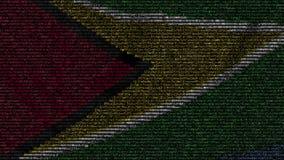 La bandiera d'ondeggiamento della Guyana ha fatto dei simboli del testo su uno schermo di computer Animazione loopable concettual video d archivio