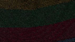 La bandiera d'ondeggiamento della Lituania ha fatto dei simboli del testo su uno schermo di computer Animazione loopable concettu archivi video
