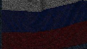 La bandiera d'ondeggiamento della Russia ha fatto dei simboli del testo su uno schermo di computer Animazione loopable concettual video d archivio