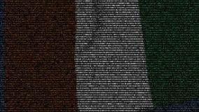 La bandiera d'ondeggiamento di Costa d'Avorio ha fatto dei simboli del testo su uno schermo di computer Animazione loopable conce video d archivio