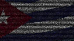 La bandiera d'ondeggiamento di Cuba ha fatto dei simboli del testo su uno schermo di computer Animazione loopable concettuale archivi video