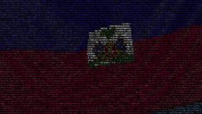 La bandiera d'ondeggiamento di Haiti ha fatto dei simboli del testo su uno schermo di computer Animazione loopable concettuale video d archivio