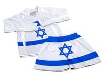 La bandiera da Israele sugli abiti sportivi di nylon di calcio copre Fotografia Stock