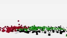 La bandiera dei UAE ha creato dai cubi 3d al rallentatore illustrazione di stock
