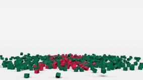 La bandiera del Bangladesh ha creato dai cubi 3d al rallentatore illustrazione di stock