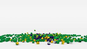 La bandiera del Brasile ha creato dai cubi 3d al rallentatore illustrazione di stock
