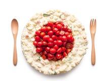 La bandiera del Giappone ha fatto del pomodoro e dell'insalata Fotografia Stock