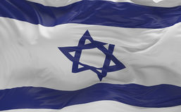 La bandiera del Izrael che ondeggia nel vento 3d rende Fotografie Stock Libere da Diritti