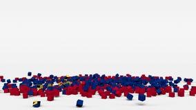 La bandiera del Liechtenstein ha creato dai cubi 3d al rallentatore illustrazione vettoriale
