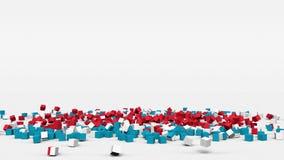 La bandiera del Lussemburgo ha creato dai cubi 3d al rallentatore royalty illustrazione gratis