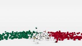 La bandiera del Messico ha creato dai cubi 3d al rallentatore illustrazione vettoriale