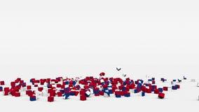 La bandiera del Nepal ha creato dai cubi 3d al rallentatore illustrazione vettoriale