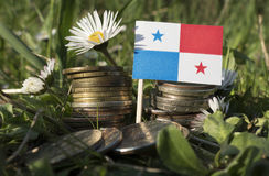 La bandiera del Panama con la pila di soldi conia con erba Fotografie Stock