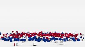 La bandiera del Paraguay ha creato dai cubi 3d al rallentatore illustrazione di stock