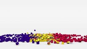 La bandiera dell'Andorra ha creato dai cubi 3d al rallentatore illustrazione di stock