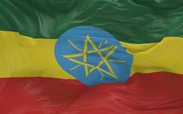 La bandiera dell'Etiopia che ondeggia nel vento 3d rende Fotografie Stock Libere da Diritti