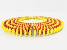 la bandiera dell'illustrazione 3D della Catalogna ha fatto di piccoli uomini che camminano nel cerchio Fotografia Stock