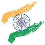 La bandiera dell'India ha stilizzato il chakra verde blu bianco dello zafferano arancio del colpo della pittura Fotografia Stock
