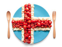 La bandiera dell'Islanda ha fatto del pomodoro e dell'insalata Immagine Stock Libera da Diritti