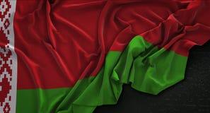 La bandiera della Bielorussia si è corrugata su fondo scuro 3D rende Immagini Stock