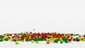La bandiera della Bolivia ha creato dai cubi 3d al rallentatore illustrazione di stock