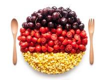 La bandiera della Germania ha fatto del pomodoro, della ciliegia e del cereale Fotografia Stock