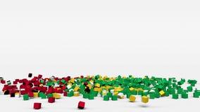 La bandiera della Guyana ha creato dai cubi 3d al rallentatore illustrazione vettoriale