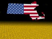 La bandiera della mappa di Massachusetts con il dollaro conia l'illustrazione della priorità alta royalty illustrazione gratis