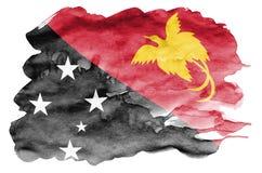 La bandiera della Papuasia Nuova Guinea è descritta nello stile liquido dell'acquerello isolata su fondo bianco illustrazione di stock