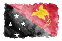 La bandiera della Papuasia Nuova Guinea è descritta nello stile liquido dell'acquerello isolata su fondo bianco illustrazione vettoriale