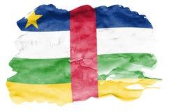 La bandiera della Repubblica centroafricana è descritta nello stile liquido dell'acquerello isolata su fondo bianco fotografie stock libere da diritti