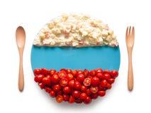 La bandiera della Russia ha fatto del pomodoro e dell'insalata Fotografia Stock