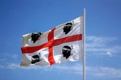 La bandiera della Sardegna - sarda di bandiera della La - la bandiera delle quattro m. Fotografie Stock