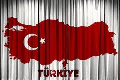 La bandiera della Turchia, la progettazione della mappa e la presentazione studiano Fotografia Stock