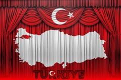 La bandiera della Turchia, la progettazione della mappa e la presentazione studiano Immagine Stock