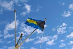 La bandiera delle isole delle Bahamas fotografia stock