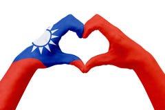 La bandiera delle mani di Taiwan, modella un cuore Concetto del simbolo del paese, isolato su bianco Fotografie Stock
