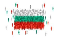 La bandiera dello stato della Bulgaria di vettore si è formata dalla folla della gente del fumetto illustrazione di stock