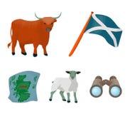 La bandiera dello stato di Andreev, Scozia, il toro, la pecora, la mappa della Scozia Icone stabilite della raccolta della Scozia Immagine Stock