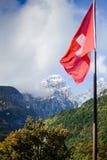La bandiera su un fondo delle montagne. Immagine Stock