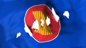 La bandiera di ASEAN ha perforato, fori di pallottola illustrazione di stock