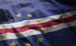 La bandiera di Capo Verde ha arruffato vicino su fotografia stock libera da diritti