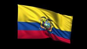 La bandiera di ciclaggio senza cuciture di Repubblica dell'Equador che ondeggia in vento di t Republiche, alfa canale è inclusa video d archivio