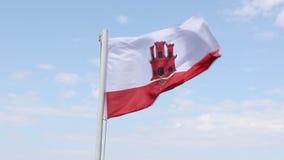 La bandiera di Gibilterra stock footage